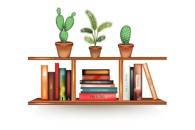 Реалистичные книжные тома с пустыми корешками и подставкой для горшка в ряд на стойке, висящей на стене. Premium векторы