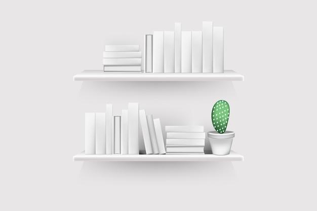 빈 등뼈와 냄비가있는 현실적인 책 볼륨이 벽에 매달려 랙에 줄을 서 있습니다. 프리미엄 벡터