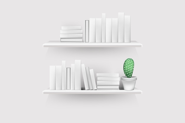 Realistic book volumes with empty spines and pot stand in row at rack hang on wall. Premium Vector
