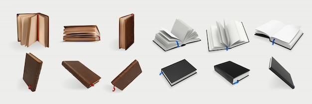 Realistic books set collection Premium Vector