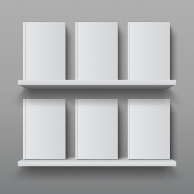 Realistic bookshelf with books. library shelf mockup, modern office bookcase, plywood wall shelf template Premium Vector
