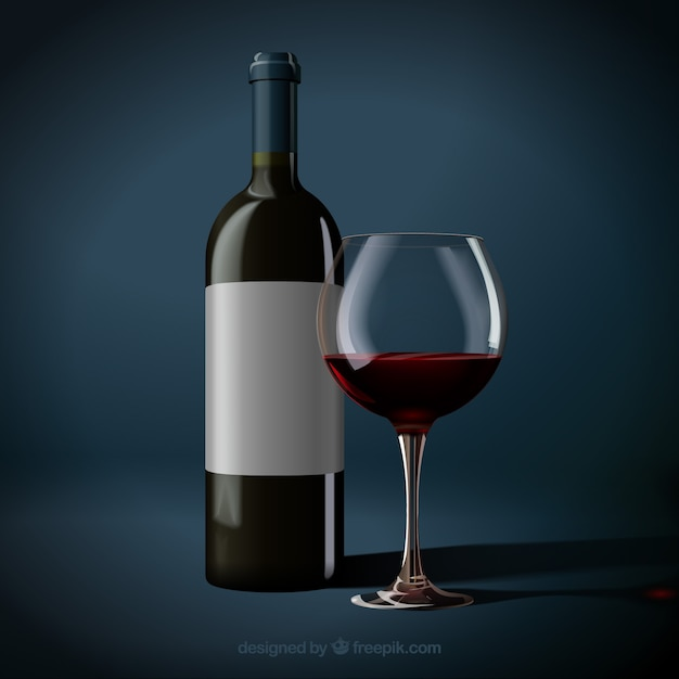 Realistic bottle and glass of red wine Free Vector