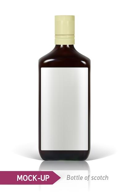 反射と影で白い背景にスコッチの現実的なボトル。ラベルのテンプレート。 Premiumベクター