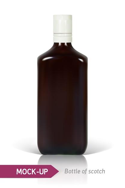 反射と影の白い背景にスコッチのリアルなボトル。 Premiumベクター