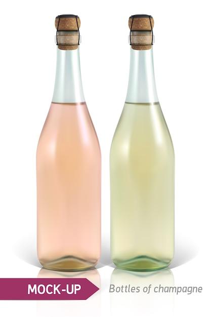 反射と影で白い背景にシャンパンの現実的なボトル。ラベルのテンプレート。 Premiumベクター