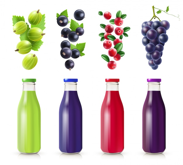 Realistic bottles with berry juice set Free Vector