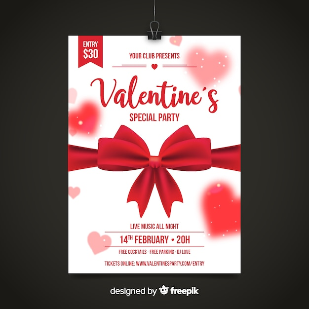 Realistic bow valentine party poster Free Vector