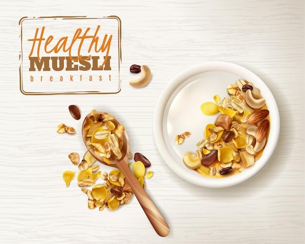 Colazione sana realistica del superfood di muesli della ciotola con le immagini editabili del cucchiaio e del piatto di testo dei cereali di granola deliziosi Vettore gratuito