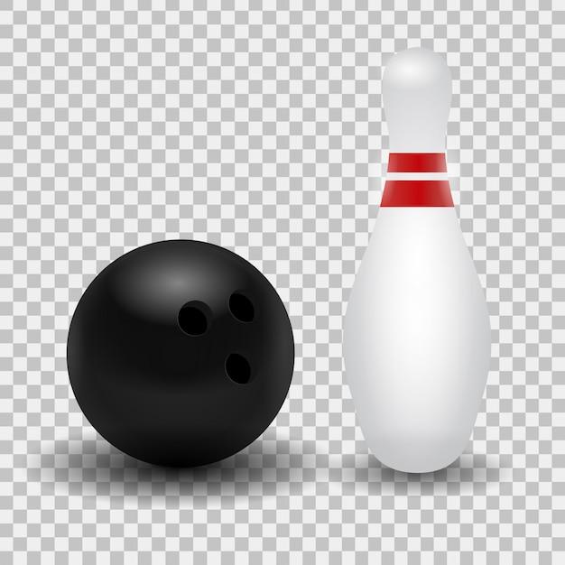 Реалистичная кегля и шар для боулинга на прозрачном фоне. Premium векторы