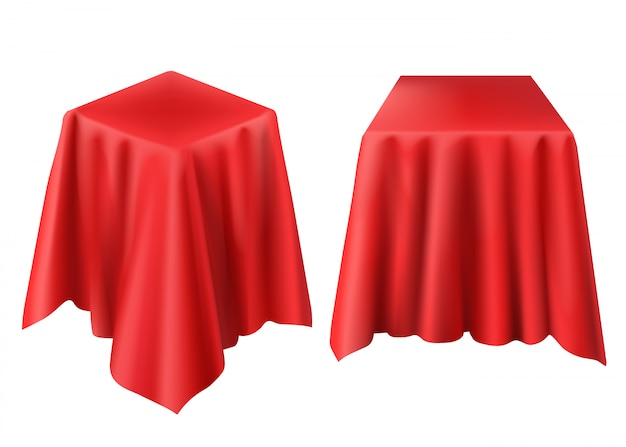 Realistic box covered with red cloth Free Vector