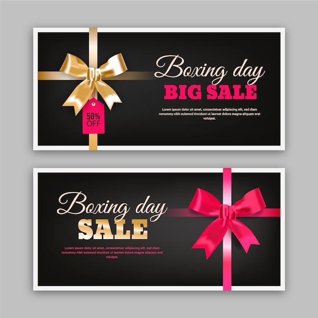 Realistic boxing day sale banners template Free Vector