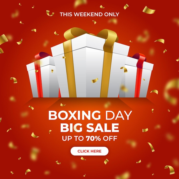 Realistic boxing day sale Free Vector