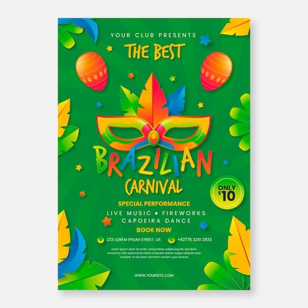 Realistic brazilian carnival poster template Free Vector
