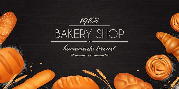 Realistic bread bakery composition with bakery shop homemade bakery description and set of bread Free Vector