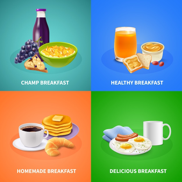 Realistic breakfast Free Vector