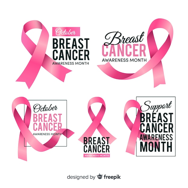 Realistic breast cancer awareness badge collection Free Vector