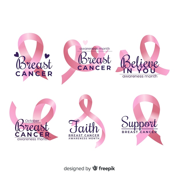 Realistic breast cancer awareness badge Free Vector