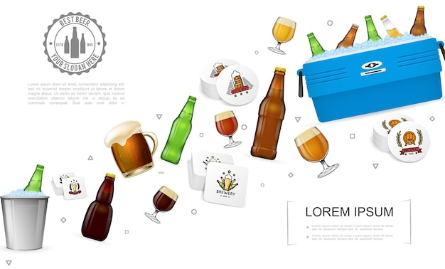 Realistic brewery colorful template Free Vector
