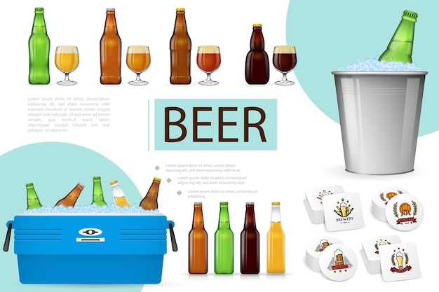 Realistic brewing composition Free Vector