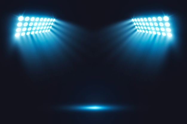 Realistic bright stadium arena lights Free Vector