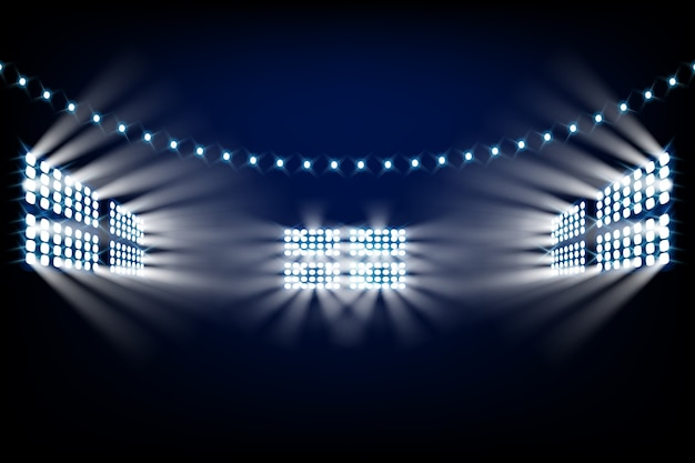 Realistic bright stadium lights Free Vector