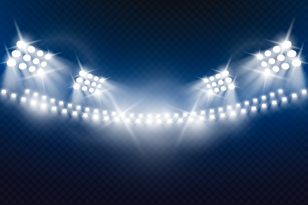 現実的な明るいスタジアムライト 無料ベクター