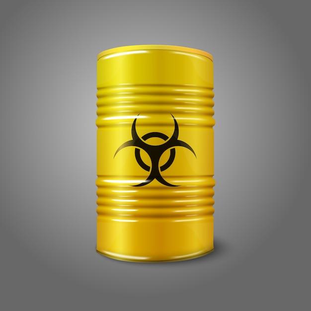 Realistic bright yellow big barrel with bio hazard sign Premium Vector