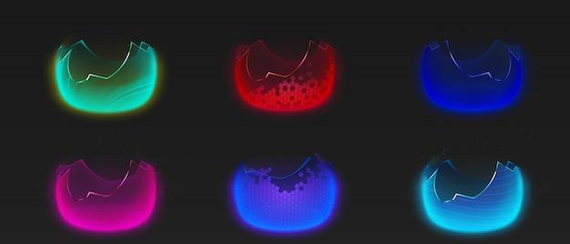 Realistic broken bubble shields Free Vector