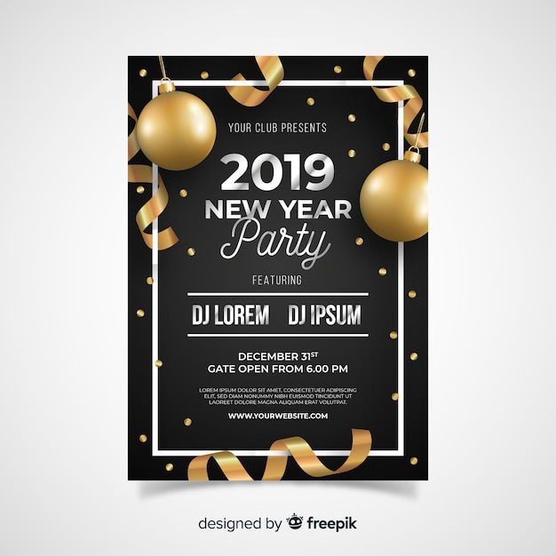 realistic bronze balloons new year party poster template free vector