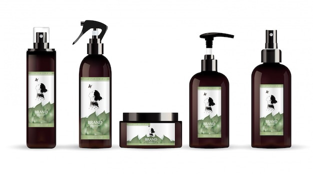 Realistic brown bottle for cosmetic cream container. Premium Vector
