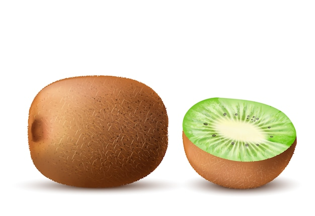 Realistic brown ripe kiwi whole and half isolated on background 1441 1803
