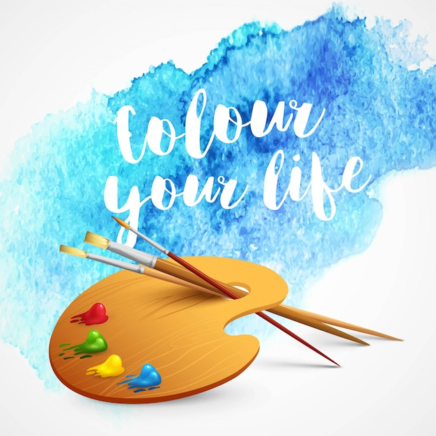 Realistic brush and palette on blue watercolor background Premium Vector