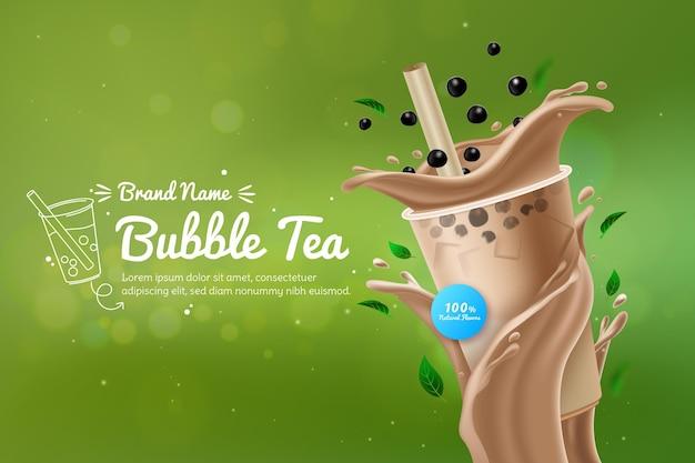 Realistic bubble tea ad Free Vector