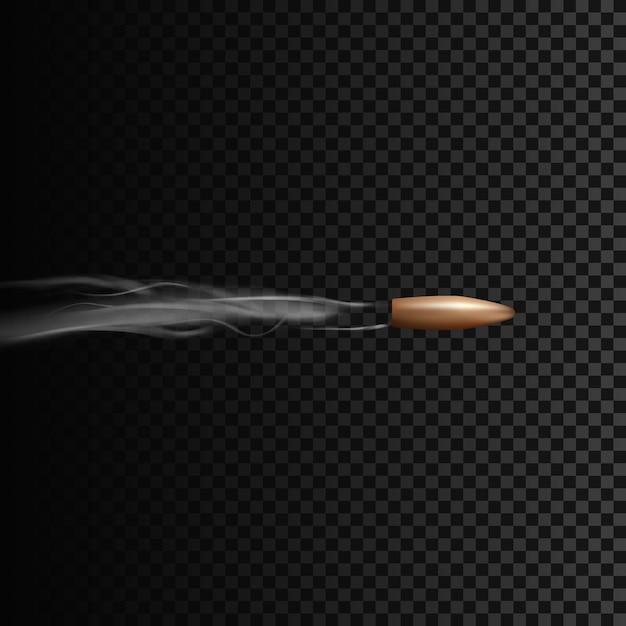 연기 효과와 함께 모션에서 현실적인 총알. 투명 배경에 고립 된 그림 프리미엄 벡터