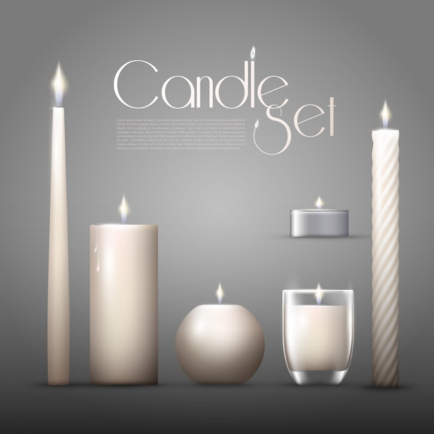 Realistic burning aromatic candles collection Free Vector