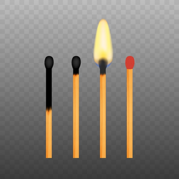 Realistic burning match on transparency grid Premium Vector