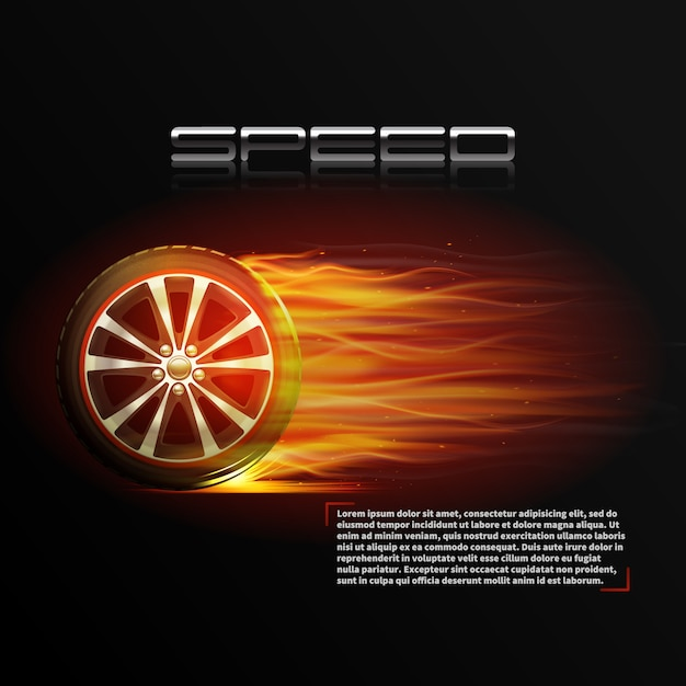 Realistic burning wheel tyre extreme auto sport speed poster Free Vector