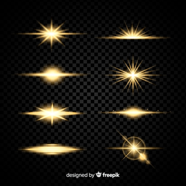 Realistic burst of light collection Free Vector