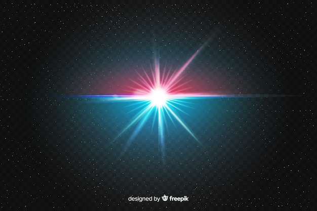 Realistic burst of light effect on two colors Free Vector