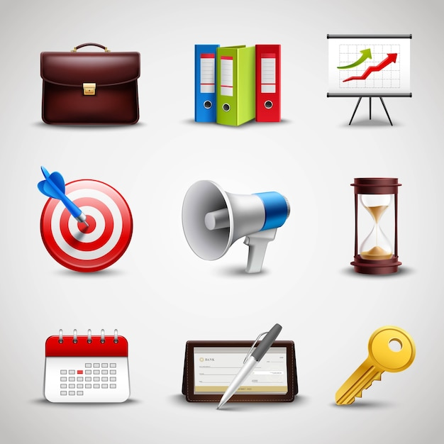 Realistic business icons Free Vector