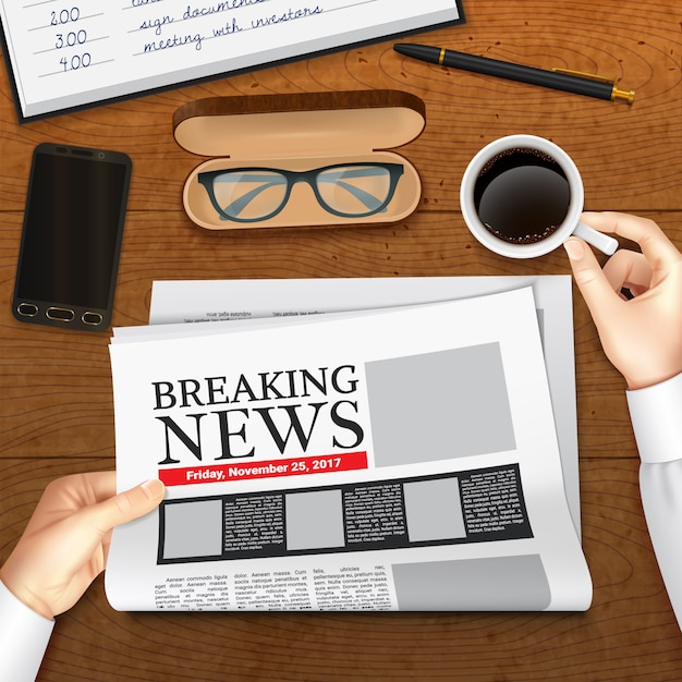 Realistic business newspaper illustration Free Vector