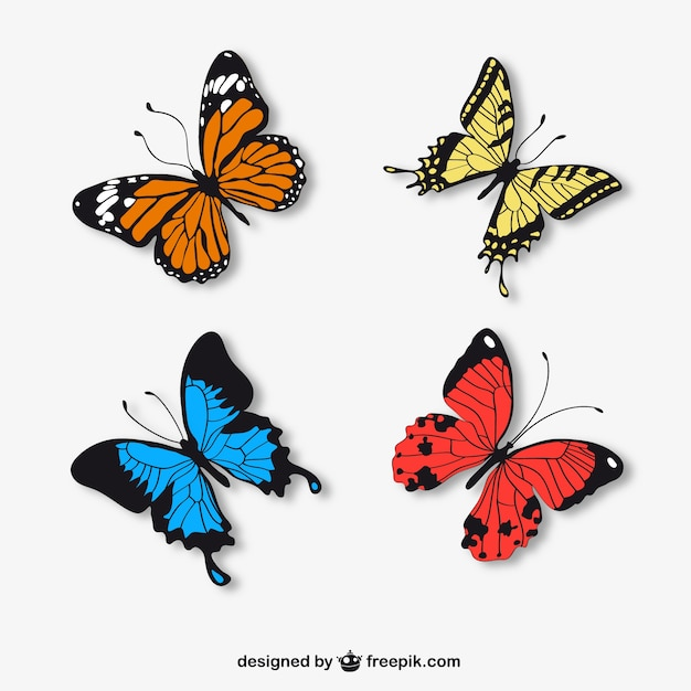 Realistic butterflies Free Vector