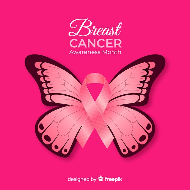 18fc66246 Realistic butterfly breast cancer awareness background Vector | Free ...