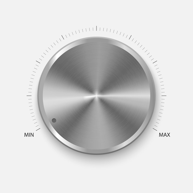 Realistic button with circular processing. Premium Vector