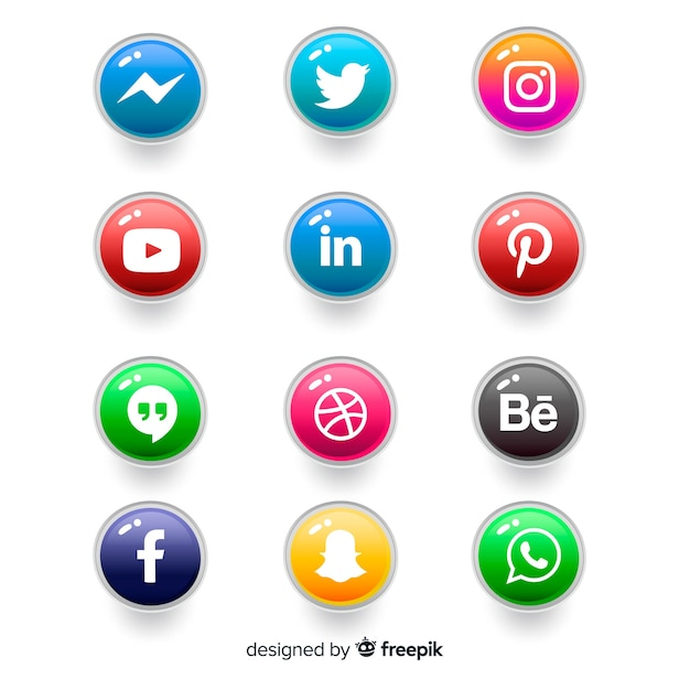 Realistic buttons with social media logo collection Free Vector