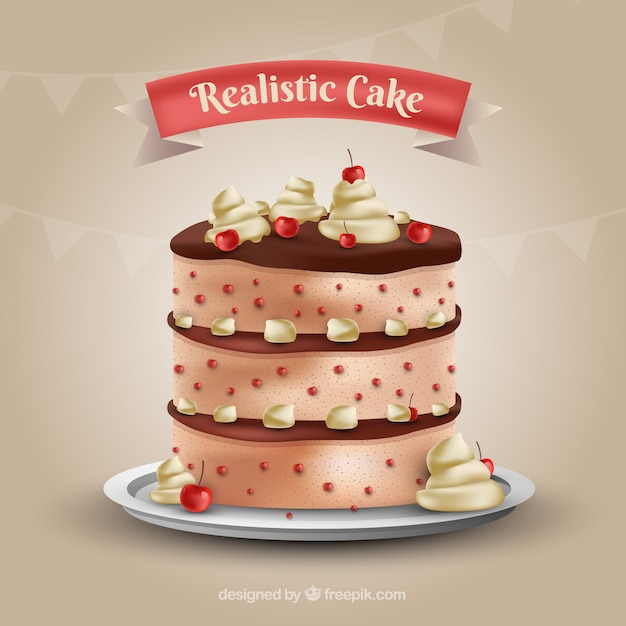 realistic cake with cherries vector free download