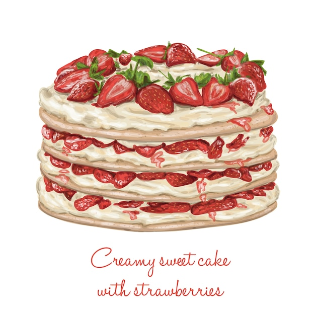 Realistic cake with strawberries Vector Free Download