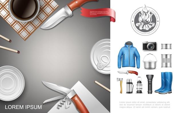 Реалистичная концепция кемпинга и туризма с консервной курткой, резиновые сапоги, нож, топор, фонарик, фонарь, термос, кулинария, сковорода, камера, спички Premium векторы