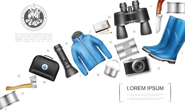 Реалистичная концепция элементов кемпинга с консервным топором, медицинская сумка, фонарик, кухонный горшок, куртка для камеры, резиновые сапоги, бинокль, нож Бесплатные векторы