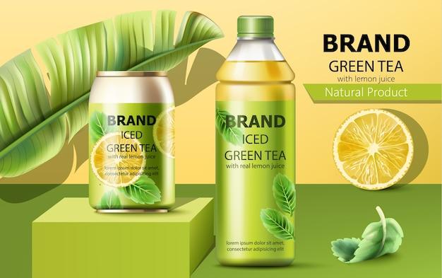 Lattina realistica su un podio e una bottiglia di tè verde ghiaccio naturale Vettore gratuito